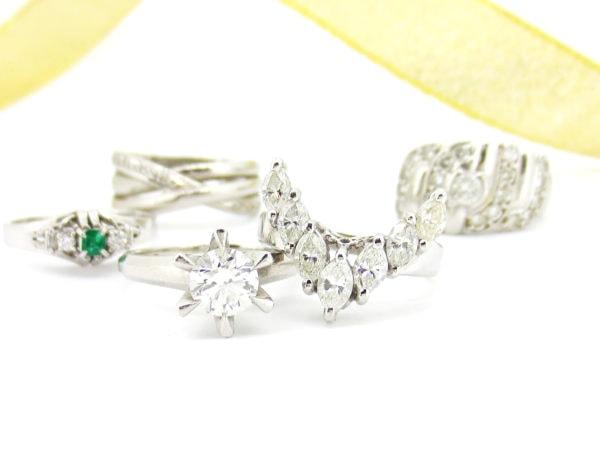 リフォーム前の様々なカットのダイヤの指輪