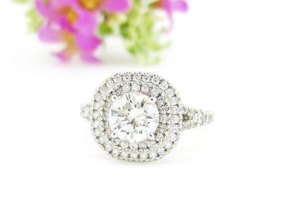ジュエリーハナジマでリフォームした華やかな1ctダイヤのリング