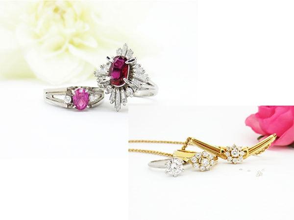 赤やピンクの宝石とダイヤの指輪をリフォーム
