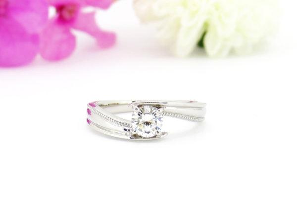 婚約指輪のリフォーム事例、一粒ダイヤの指輪へ