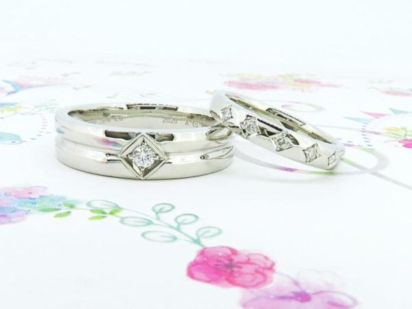 ご夫婦のダイヤのリングをお揃いのモチーフデザインにリフォーム