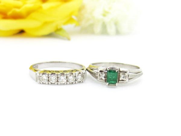ダイヤとエメラルドの指輪、リフォーム前画像