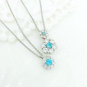 ラザールダイヤモンドとパライバトルマリンのネックレス