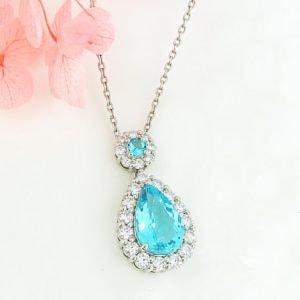 パライバトルマリンとダイヤモンドのネックレス